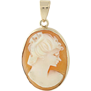 Vintage Carved Shell Cameo Pendant - 14k Yellow Gold Silhouette