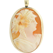 Vintage Carved Shell Cameo Pendant - 10k Yellow Gold