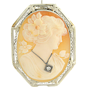 Art Deco Carved Shell Cameo Brooch / Pendant - 14k White Gold En Habile .04ct