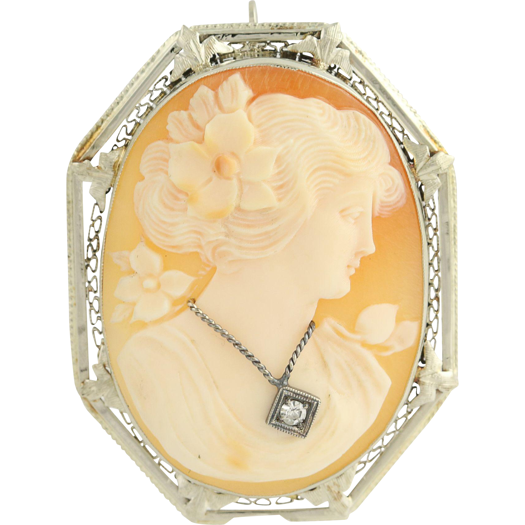 Art Deco Carved Shell Cameo Brooch / Pendant - 14k White Gold En Habile .04ct