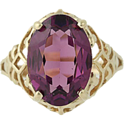 Imitation Amethyst Ring - 14k Yellow Gold Oval Brilliant Cut Solitaire 14x10mm