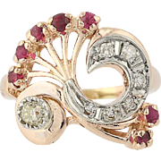 Retro Synthetic Ruby & Diamond Ring - 14k Rose Gold Old Mine Cut Vintage .93ctw