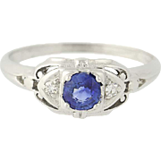 Art Deco Sapphire & Diamond Engagement Ring - 18k White Gold Vintage .46ctw