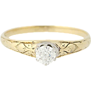 Art Deco Diamond Engagement Ring - 14k Yellow Gold Vintage Old European .23ct