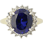 Synthetic Sapphire & Diamond Ring - 10k Yellow Gold Halo 6.05ctw
