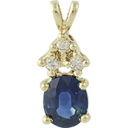 Sapphire & Diamond Pendant - 14k Yellow Gold Women's .88ctw