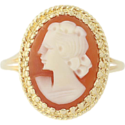 Vintage Carved Shell Cameo Ring - 14k Yellow Gold Women's Size 10 1/2