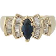 Sapphire & Diamond Ring - 14k Yellow Gold Marquise Brilliant Cut 1.08ctw
