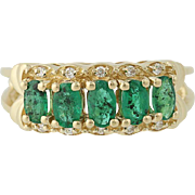 Emerald & Diamond Ring - 14k Yellow Gold Five-Stone with Accents 1.29ctw