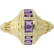 Amethyst & Diamond Ring - 18k Yellow Gold Three-Stone with Accents .38ctw
