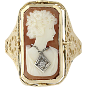 Vintage Reversible Carved Shell Cameo Ring - 14k Gold Carnelian & Diamond