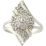 Diamond Cluster Bypass Ring - 10k White Gold Size 8 1/2 Women's