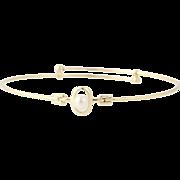 "Cultured Pearl Bangle Bracelet 7 1/2"" - 14k Yellow Gold Women's 5.1mm"