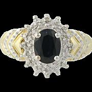 Sapphire & Diamond Halo Ring - 10k Yellow Gold Women's 1.50ctw