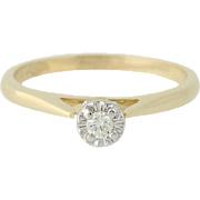 Diamond Solitaire Engagement Ring - 14k Yellow Gold Round Brilliant Cut .05ct