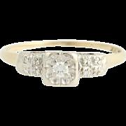 Vintage Diamond Engagement Ring - 14k Yellow & White Gold .14ctw