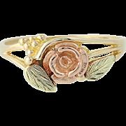 Rose Ring - 10k Yellow Rose Green Gold Black Hills Floral Flower Ring