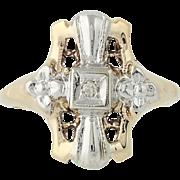 Art Deco Ring - 10k Yellow & White Gold Vintage Diamond Accent Size 4 1/4