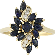 Sapphire & Diamond Cluster Ring - 14k Yellow Gold Marquise Brilliant Cut 1.60ctw