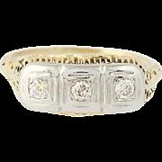 Art Deco Three-Stone Diamond Ring - 14k Yellow & White Gold Vintage .24ctw