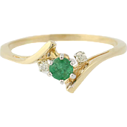 Emerald & Diamond Bypass Ring - 14k Yellow Gold Engagement .29ctw