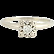 Vintage Diamond Engagement Ring - 14k White Gold European Cut .20ctw