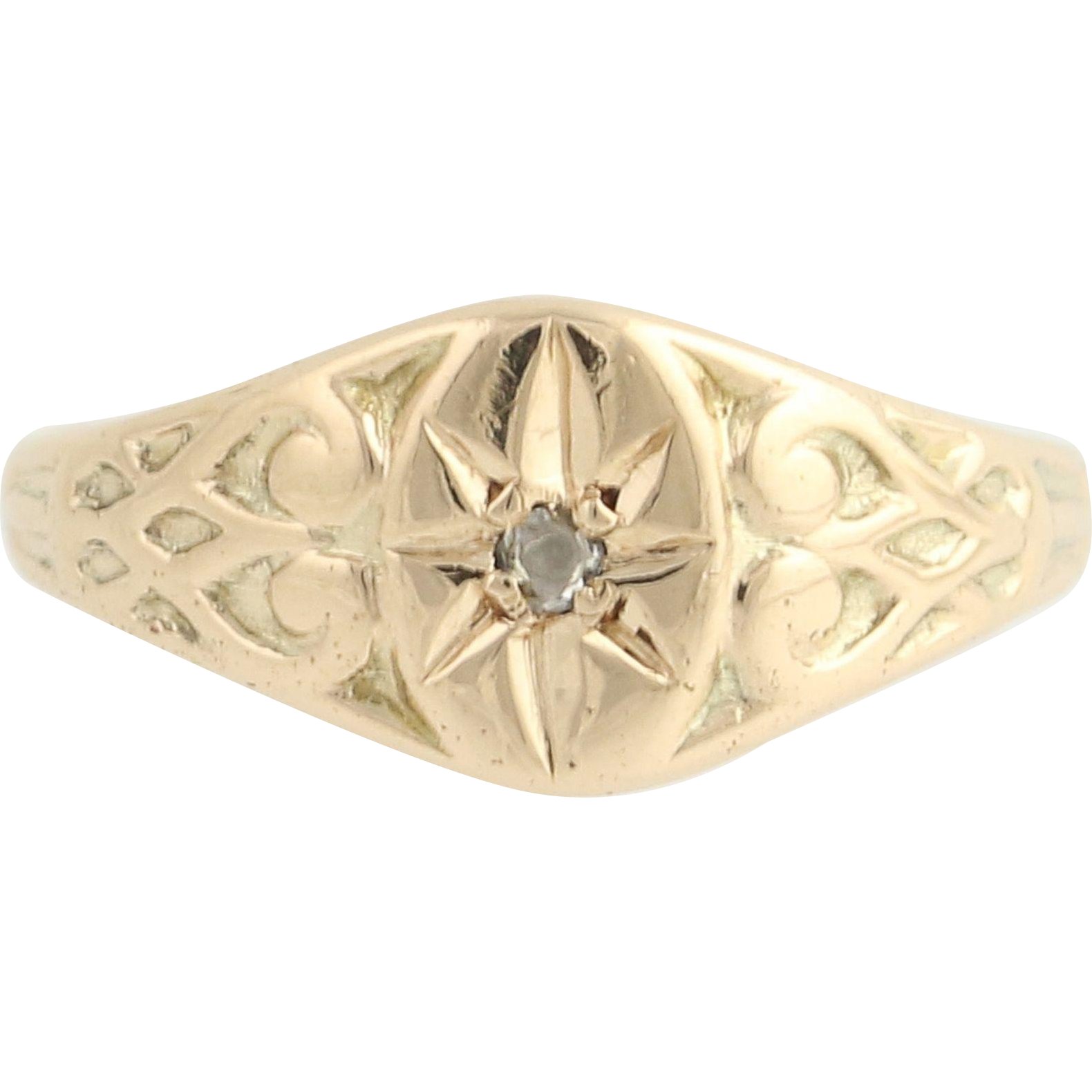 Victorian Diamond-Accented Ring - 14k Yellow Gold Rose Cut Antique