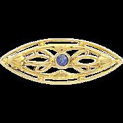 Art Deco Sapphire Brooch - 14k Yellow Gold Vintage Floral Design .14ct