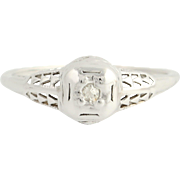 Art Deco Diamond Ring - 14k White Gold Vintage .04ct