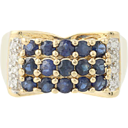 Sapphire & Diamond Ring - 14k Yellow Gold Size 6 1/4 Women's 1.01ctw