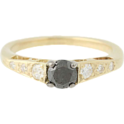 Black & White Diamond Engagement Ring- 14k Yellow Gold Round Cut .68ctw