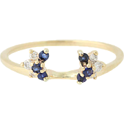 Sapphire & Diamond Enhancer Wedding Band - 14k Yellow Gold Guard Ring .40ctw
