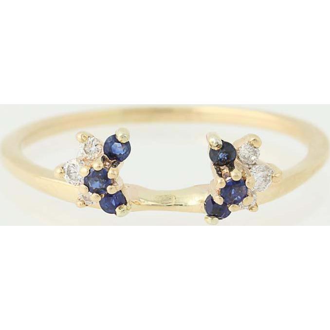 Sapphire & Diamond Enhancer Wedding Band 14k Yellow Gold Guard