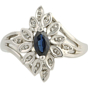 Sapphire & Diamond Floral Bypass Ring - 10k White Gold September .60ctw