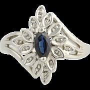 Sapphire & Diamond Floral Bypass Ring - 10k White Gold September .60ctw