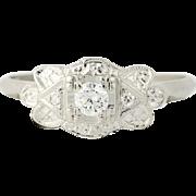 Art Deco Diamond Engagement Ring & Wedding Band - 900 Platinum Vintage .20ctw