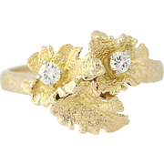 Diamond Leaf Bypass Ring - 14k Yellow Gold Botanical Design .15ctw