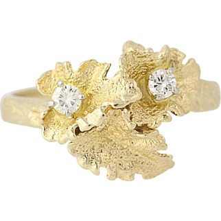 Diamond Leaf Bypass Ring - 14k Yellow Gold Botanical Design .15ctw