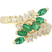 Emerald & Diamond Bypass Ring - 14k Yellow Gold Tiered .94ctw
