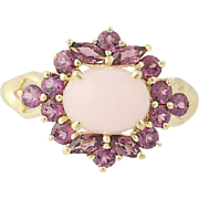 Opal & Grape Garnet Halo Ring - 14k Yellow Gold Cabochon Cut 2.85ctw