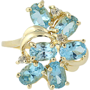 Blue Topaz & Diamond Cluster Bypass Ring - 14k Yellow Gold 2.94ctw