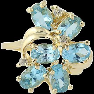 Blue Topaz & Diamond Cluster Bypass Ring - 14k Yellow Gold 2.94ctw