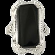 Art Deco Onyx Ring - 14k White Gold Filigree Vintage Women's 7 3/4 - 8