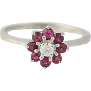 Ruby & Diamond Ring - 14k White Gold Women's Floral Halo .74ctw
