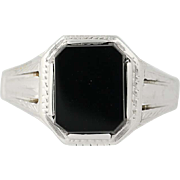 Art Deco Onyx Ring - 14k White Gold Women's Vintage Etched Accents