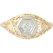 Vintage Diamond Ring - 14k Yellow Gold Filigree Round Cut Solitaire .10ct