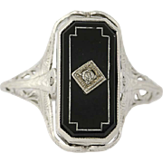 Art Deco Reversible Onyx & Syn. Sapphire Ring - 14k Gold Flips Vintage Diamond