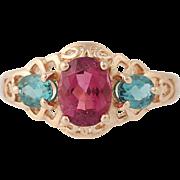 Tourmaline Ring - 14k Rose Gold Size 5 3/4 Pink & Green 1.35ctw