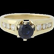 Sapphire & Diamond Ring - 14k Yellow Gold Engagement 1.38ctw