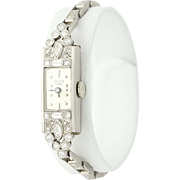 "Art Deco Diamond Watch 5 1/4"" - 900 Platinum Serviced Mechanical Ladies 1.31ctw"